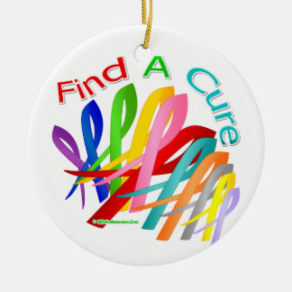 Find A Cure Colorful Cancer Ribbons Round Ceramic Decoration