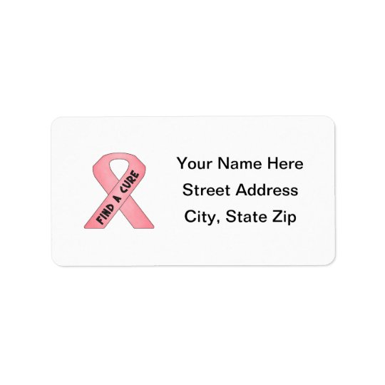 Find A Cure (pink ribbon) Address Label