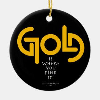 Find Gold Ambigram Round Ceramic Decoration