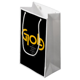 Find Gold Ambigram Small Gift Bag