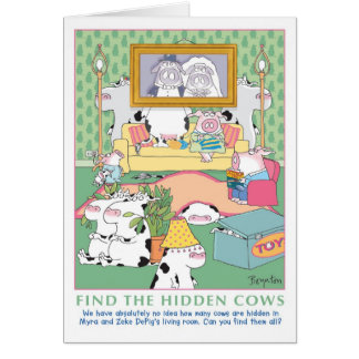 FIND THE HIDDEN COWS Birthday Greeting Cards