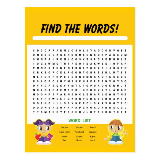Find the Words, Word Search Activity Card