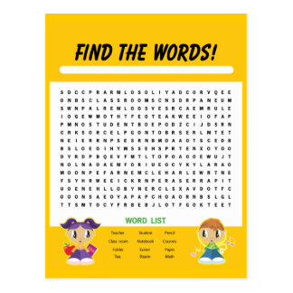 Find the Words, Word Search Activity Card Postcard