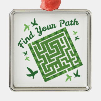 Find Your Path Silver-Colored Square Decoration