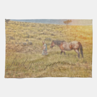 Find Your Peace Cowgirl Kitchen Towel