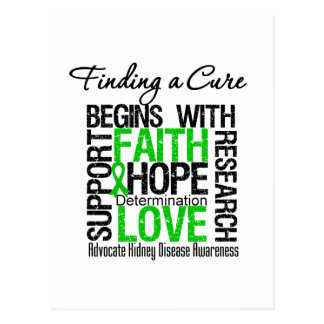 Finding a Cure For Kidney Disease (Green) Postcard