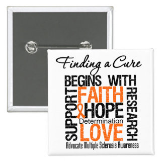 Finding a Cure For Multiple Sclerosis 15 Cm Square Badge