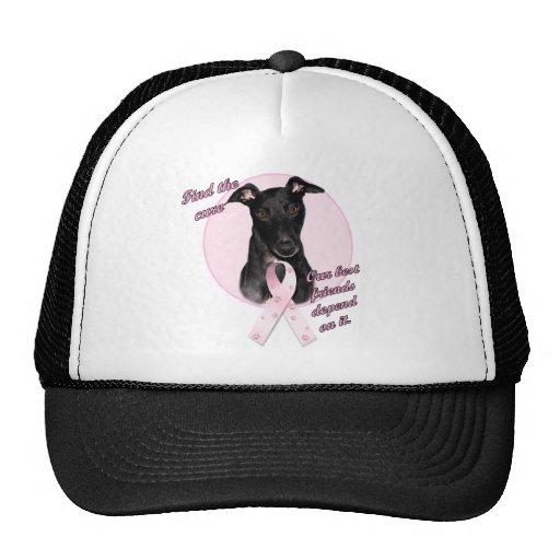 FindtheCure ~ Pink Ribbon Black Greyhound Trucker Hats