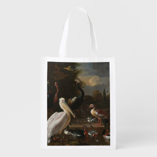 Fine art birds reusable grocery bag