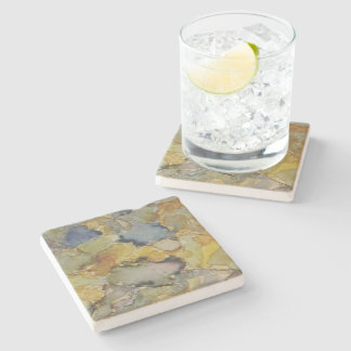 Fine Art Coaster Multicolored Stain and Stitching Stone Coaster