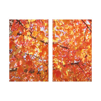 Fine Art Deco Autumn Tree Leaves prints Stretched Canvas Prints
