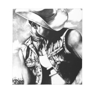 Fine art drawing handsome Cowboy Country Man Notepad