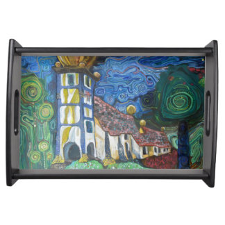 Fine art inspired by Hundertwasser Serving Tray