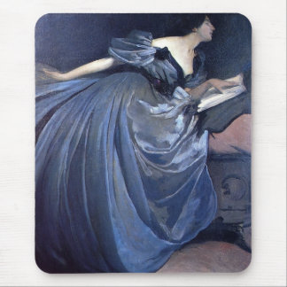 Fine art painting Althea blue woman fashion Mouse Pad