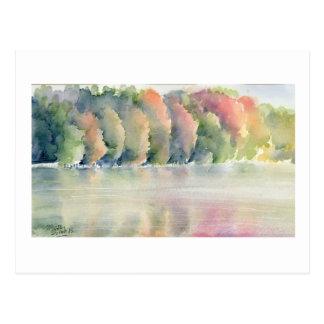 Fine Art Postcard- Autumn Lake, watercolour Postcard