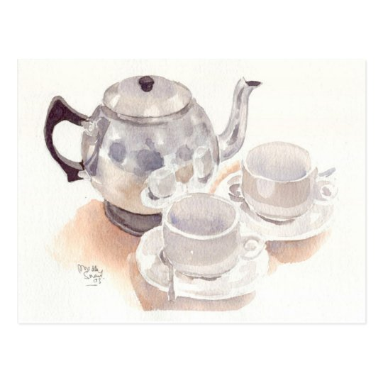 Fine Art Postcard- Tea Set, watercolour Postcard