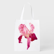 Fine art red pink iris watercolor art bag grocery bag