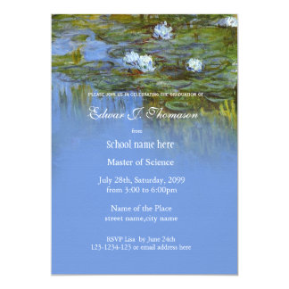 Fine art vintage waterlily graduation 13 cm x 18 cm invitation card