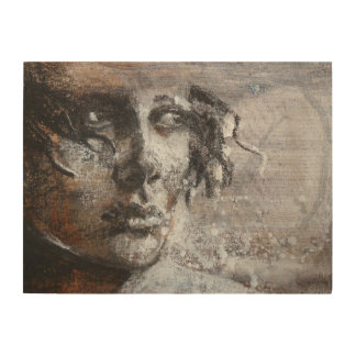 Fine art warm sepia colours or sensitive face wood canvas