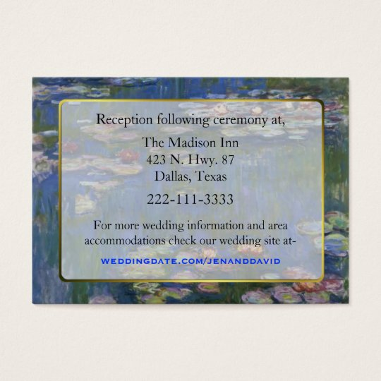 Fine Art Water Lilies Wedding enclosure cards