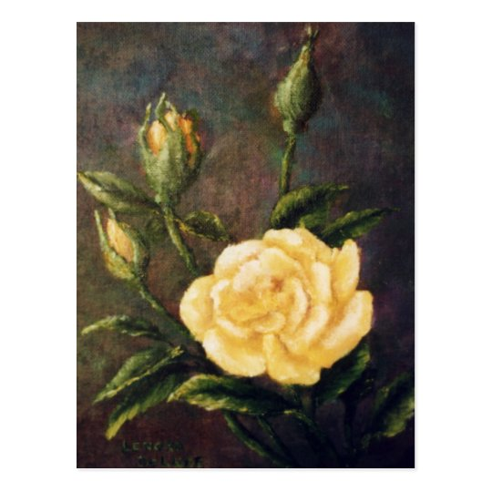 Fine Art Yellow Rose and Buds Still Life Postcard