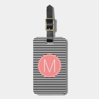Fine Black Stripe with Coral Monogram Luggage Tag