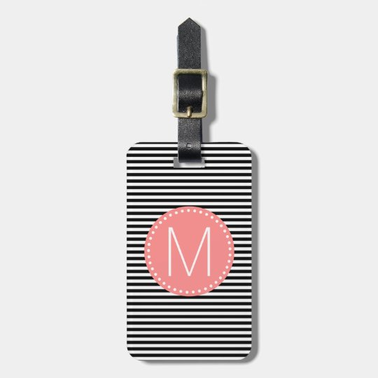 Fine Black Stripe with Coral Monogram Luggage Tag