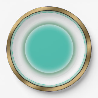 Fine China Illusion - White, Aqua, Brushed Gold 9 Inch Paper Plate