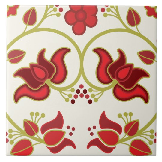 Fine Cool Cute Girly Retro Floral Fashion Large Square Tile