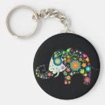 Fine Cute Elephant  Floral Fashion Basic Round Button Key Ring