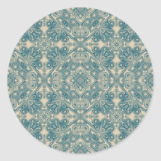 Fine detailed artistic pattern in teal and cream