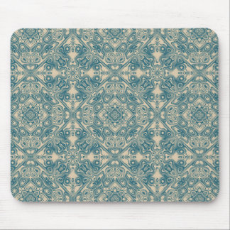 Fine detailed artistic pattern in teal and cream mouse pad