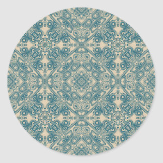 Fine detailed artistic pattern in teal and cream round sticker