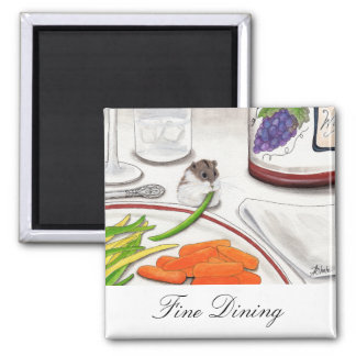 Fine Dining Hamster Art Wine by BiHrle Magnet