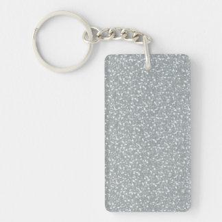 Fine Faux Glitter Shiny Sparkles Silver White Double-Sided Rectangular Acrylic Key Ring