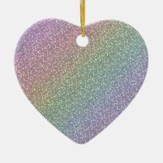 Fine Faux Glitter Sparkles Rainbow Pearl Diagonal Christmas Ornament