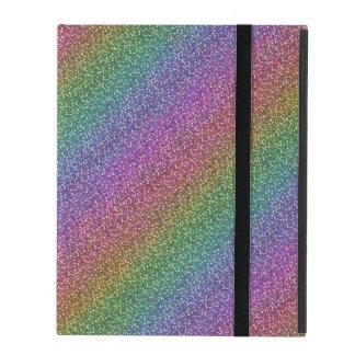 Fine Faux Glitter Sparkles Shiny Rainbow Diagonal iPad Covers