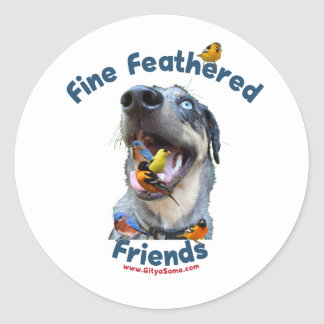 Fine Feathered Friends Bird Dog Round Sticker