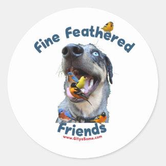 Fine Feathered Friends Bird Dog Round Sticker