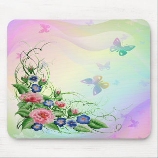 Fine flowers and Butterflies Mouse Pad
