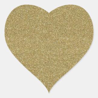 Fine Golden Glitter Background Texture Print Heart Stickers