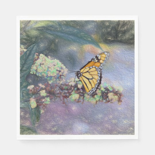 Fine Napkins Muted Butterfly Disposable Serviette