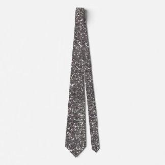Fine Silver Glitter Texture Print Tie