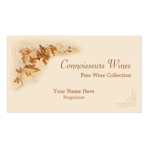 Fine wine business card zazzle for Wine business cards