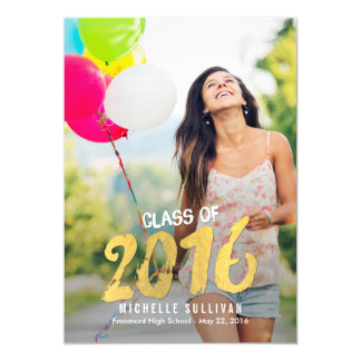 Finely Painted Graduation Announcement Invite Gold