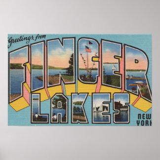 Finger Lakes New York - Large Letter Scenes Print