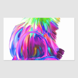 Finger painted colorful cat rectangular sticker