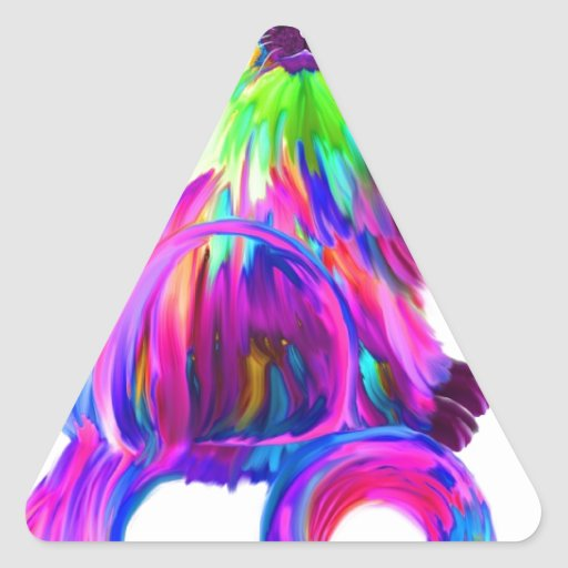 Finger painted colorful cat triangle stickers