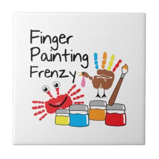 Finger Painting Small Square Tile