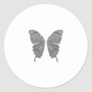 Finger Print Butterfly Wings Round Sticker